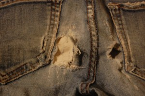 yes, I tried to patch $230 jeans with Burlap...to no avail!