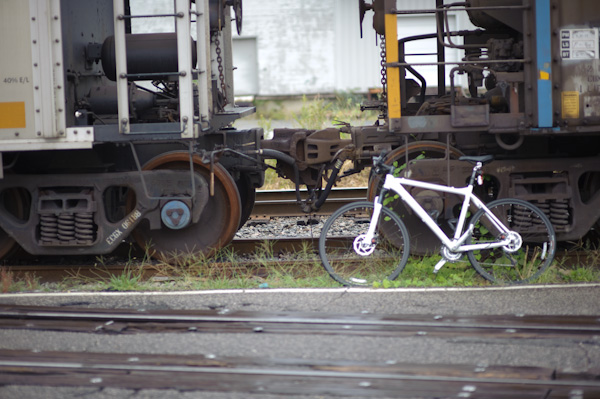 T's bike on the railroad tracks (same ones where I took a spill!)