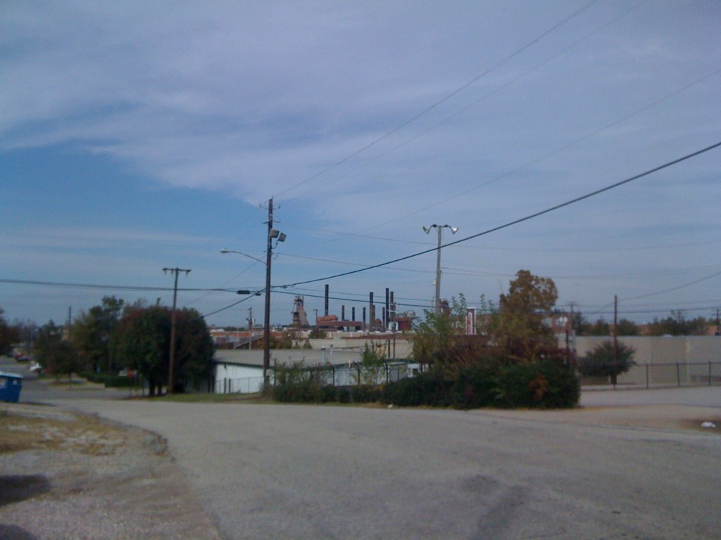 Sloss Furnace as seen from 4th Ave on a clear fall day
