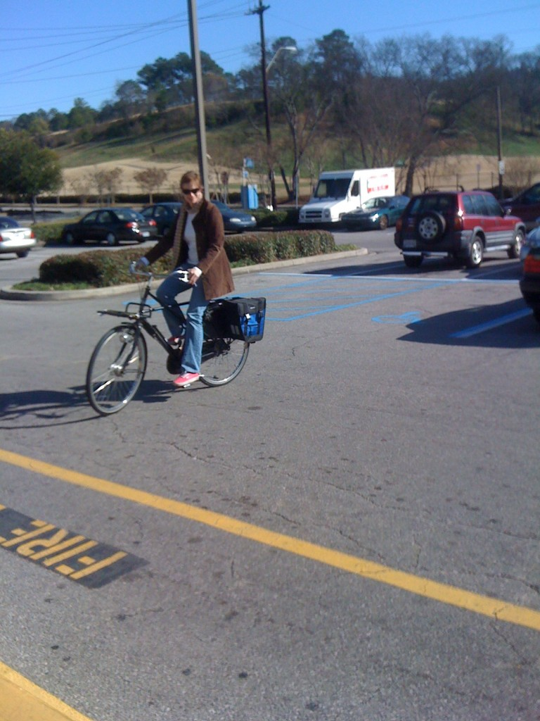 test riding in the Piggly Wiggly parking lot...classy